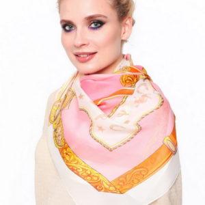 Женский платок (Бежевый Орнамент) Laura Milano