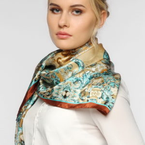 Женский платок (Бежевый Абстракция цвет) Paccia