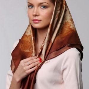 Платок женский (Бежевый Цветочный) Valentino