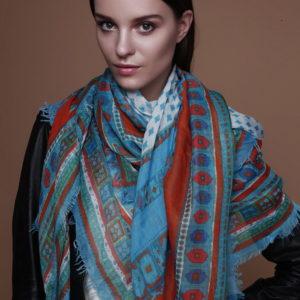 Женский платок (Бирюзовый Геометрический;Орнамент) Fiona Fantozzi