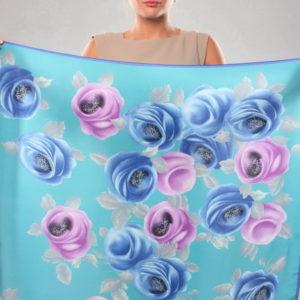 Платок женский (Бирюзовый Цветочный) Fiorio Milano