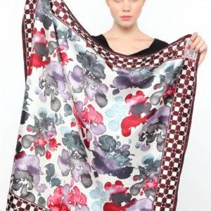 Платок женский (Бордовый Цветочный) Ungaro