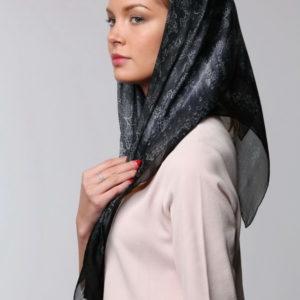 Платок женский (Черный Цветочный) Valentino
