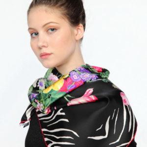 Платок женский (Черный Животный (в т.ч. леопардовый);Цветочный) Ungaro