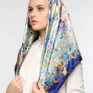 Женский платок (Голубой Цветочный цвет) Paccia