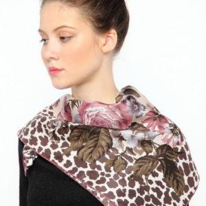 Платок женский (Коричневый Животный (в т.ч. леопардовый);Цветочный) Ungaro
