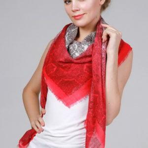Женский платок (Красный Огурчики (пейсли);Орнамент;Цветочный) DGtx