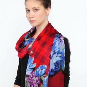 Платок женский (Красный Цветочный) Fiorio Milano