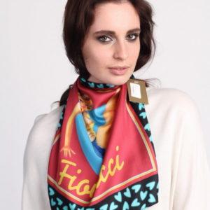 Платок женский (Красный Абстракция;Логотип) Fiorucci