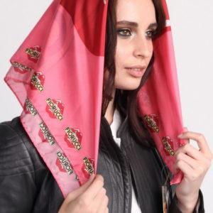 Платок женский (Розовый Абстракция;Логотип) Fiorucci