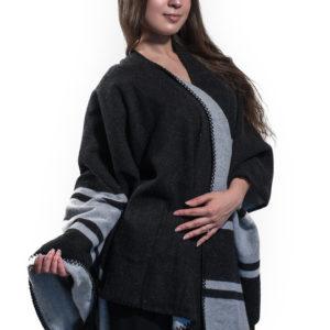 Пончо для женщин (Черный Полоска цвет) Paccia
