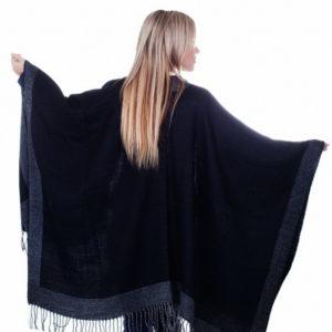 Пончо для женщин (Черный Полоска;Этника цвет) Paccia
