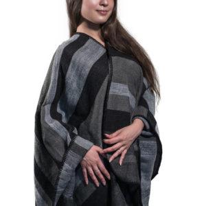 Пончо для женщин (Серый Полоска цвет) Paccia