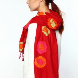 Шарф  красный для женщин (Красный Цветочный) Rotex