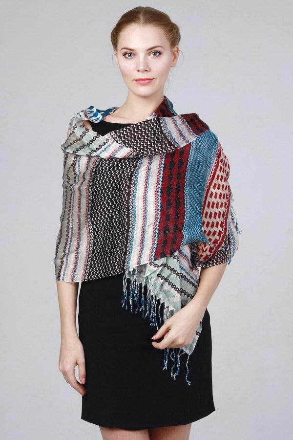 Шарф для женщин; Унисекс (Разноцветный Геометрический;Орнамент) Laura Milano