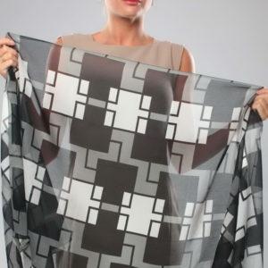 Шарф для женщин (Серый Геометрический цвет) Sophie Ramage