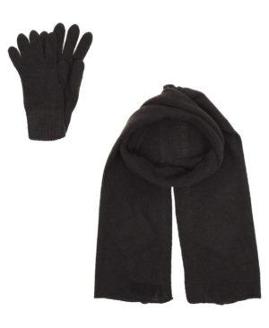 Комплект шарф и перчатки  Темно-коричневый
