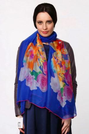 Палантин женский Цветочный Синий
