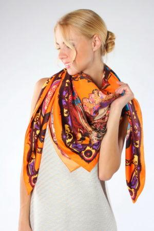 Платок женский Цепи Оранжевый