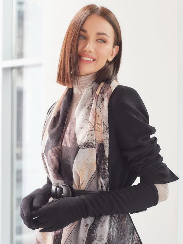 Длинные текстильные перчатки